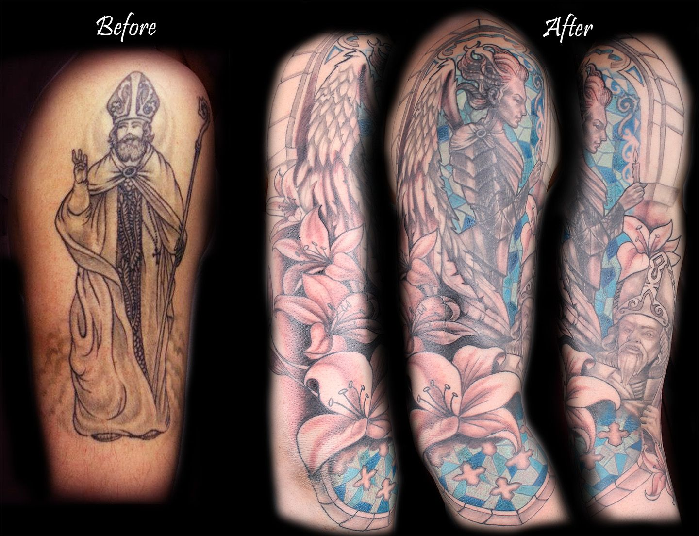 Before And After Tattoo Cover Up Tattoo From Black And White To Vivid Color Coverup Tattoo Bodylanguagetattoo Cover Up Tattoos Cover Tattoo Tattoos