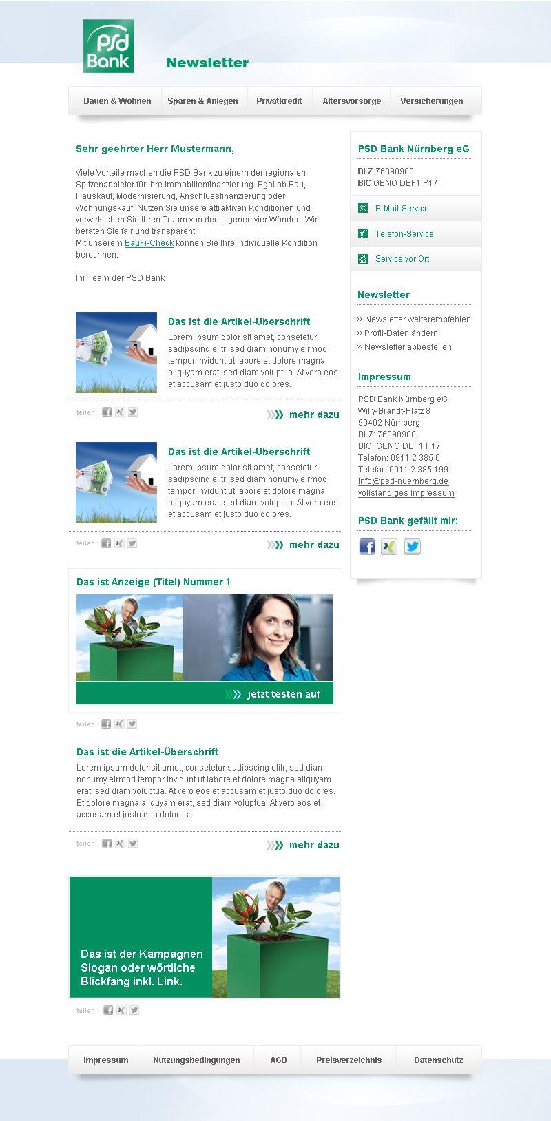 Newsletter-Design PSD Bank #Newsletterdesign #Email #Emailmarketing ...