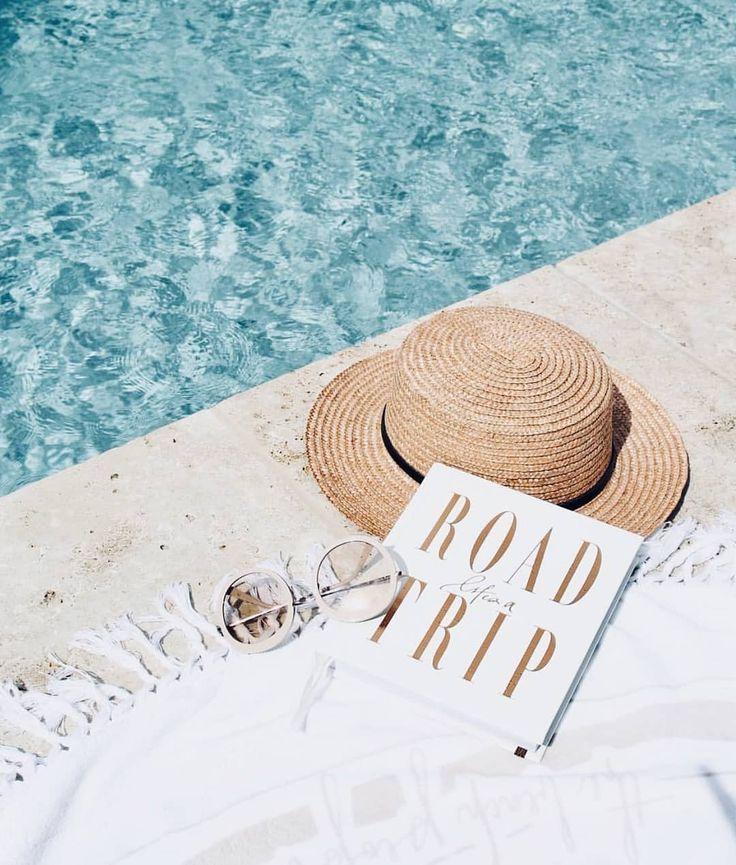Summer essentials  poolside  pool  beach  towel  roundie  roundtowel  hat  book  sunnies  summer