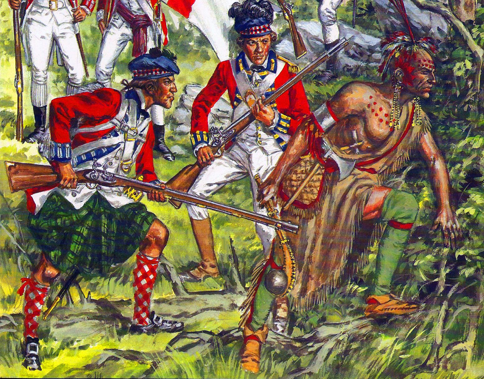 British Highlanders And Indian Auxiliary During The Seven