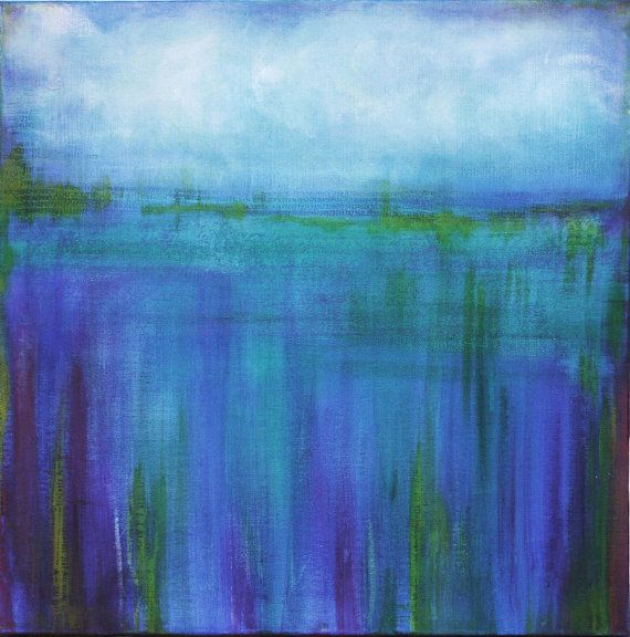 Commission for colorful abstract ocean scene 20 X by AquaGirlArt, $195.00