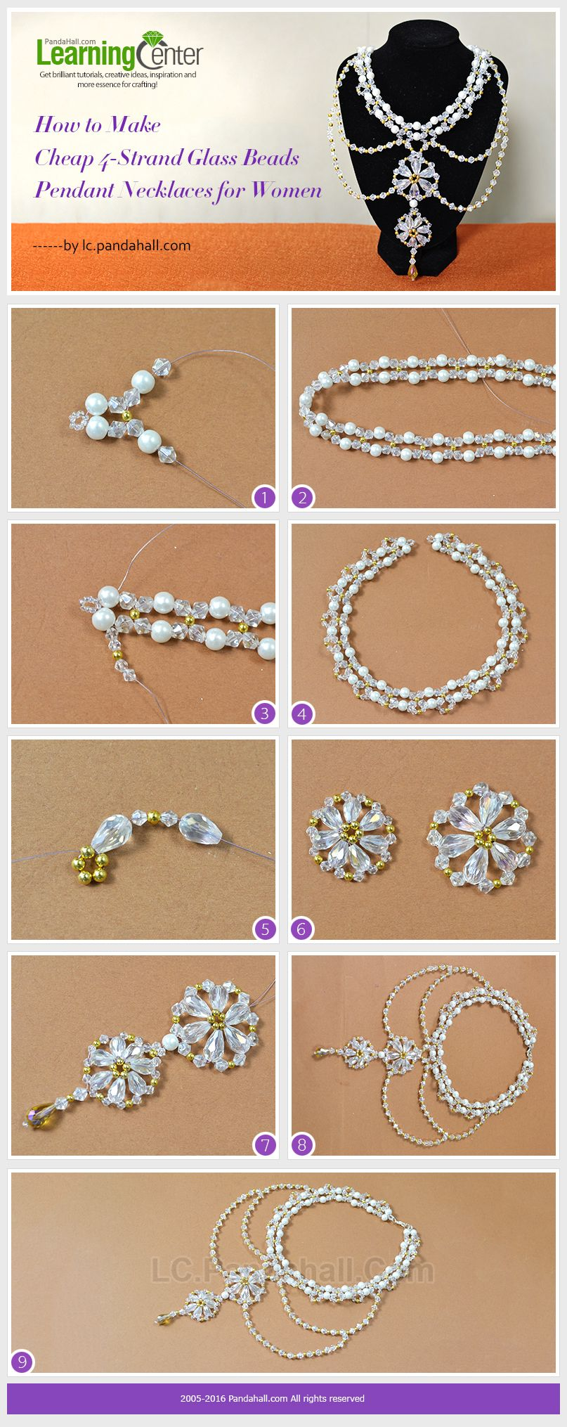 Tutorial On How To Make Cheap 4-Strand Glass Beads Pendant Necklaces For Women From Lcpandahall