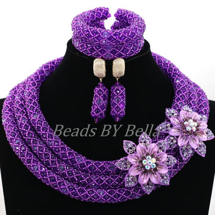 New African Wedding Beads Bridal Lace Jewelry Sets Purple Crystal ...