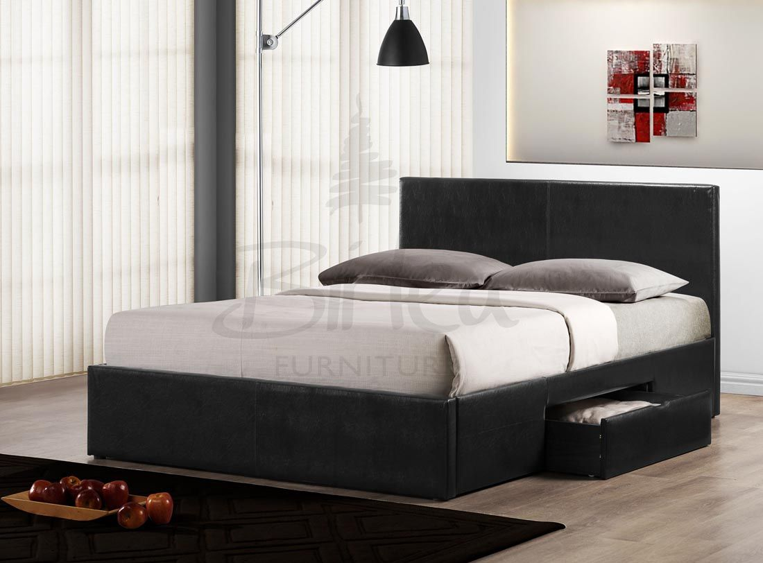 Birlea Berlin Black Leather Bed With Storage Drawers