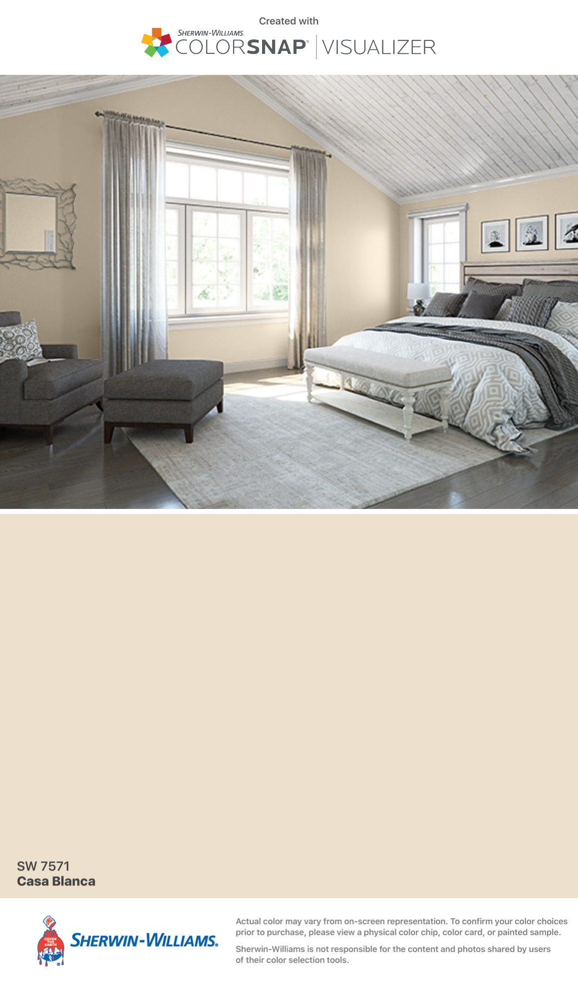 Paint Color For All Interior Trim: Sherwin Williams: Casa Blanca (SW 7571).