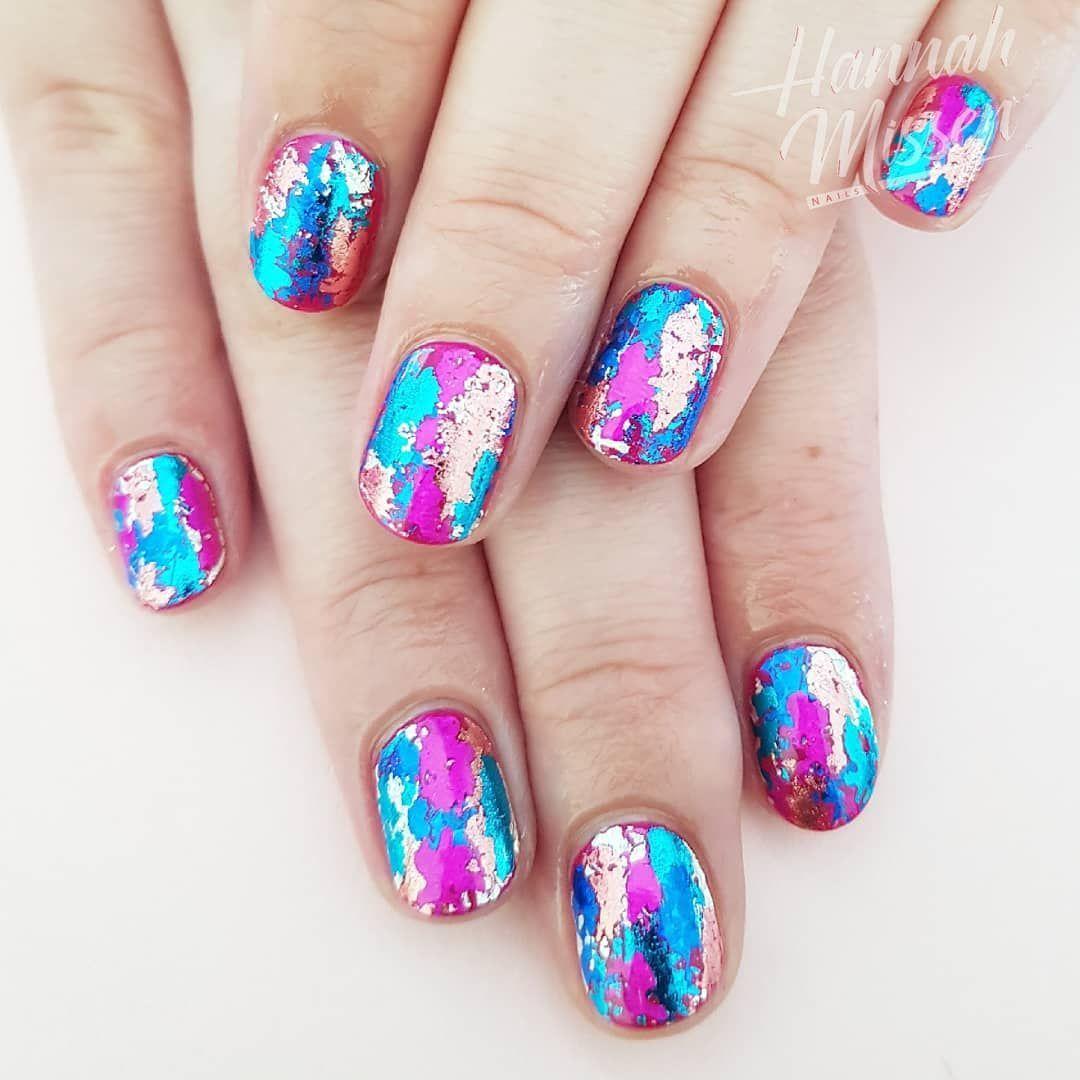 RT Hannahmnails Pink & blue foil mash up! shellacnails
