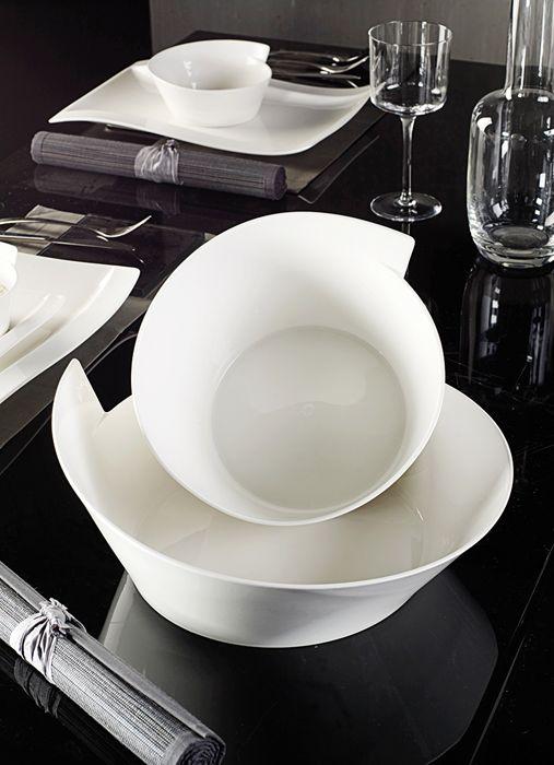 Villeroy Boch New Wave Medium 101 5 Oz And Large 152 Oz Round Salad Bowls Shop Gows Platinum Luxury Dinnerware Villeroy Boch Kitchen Design Decor