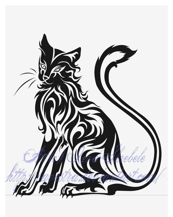 fa69a2a1633ac Sitting Cat Tribal Tattoo by Avestra on DeviantArt | Beautiful ...