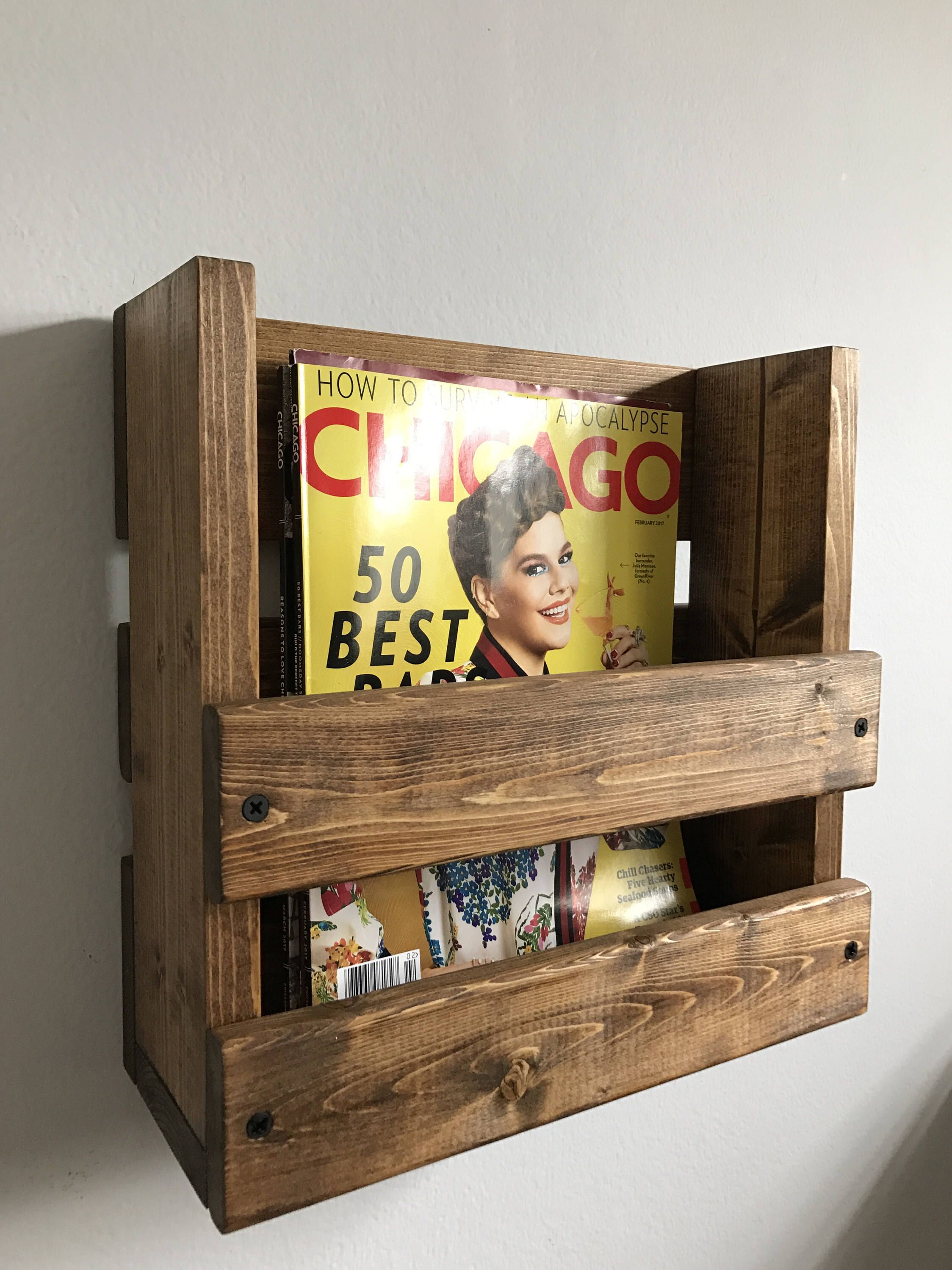 Rustic magazine rack wall mounted magazine holder wood for Magazine racks for home