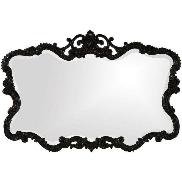 "Howard Elliott Talida 38"" x 27"" Black Wall Mirror ($300) ❤ liked on Polyvore"