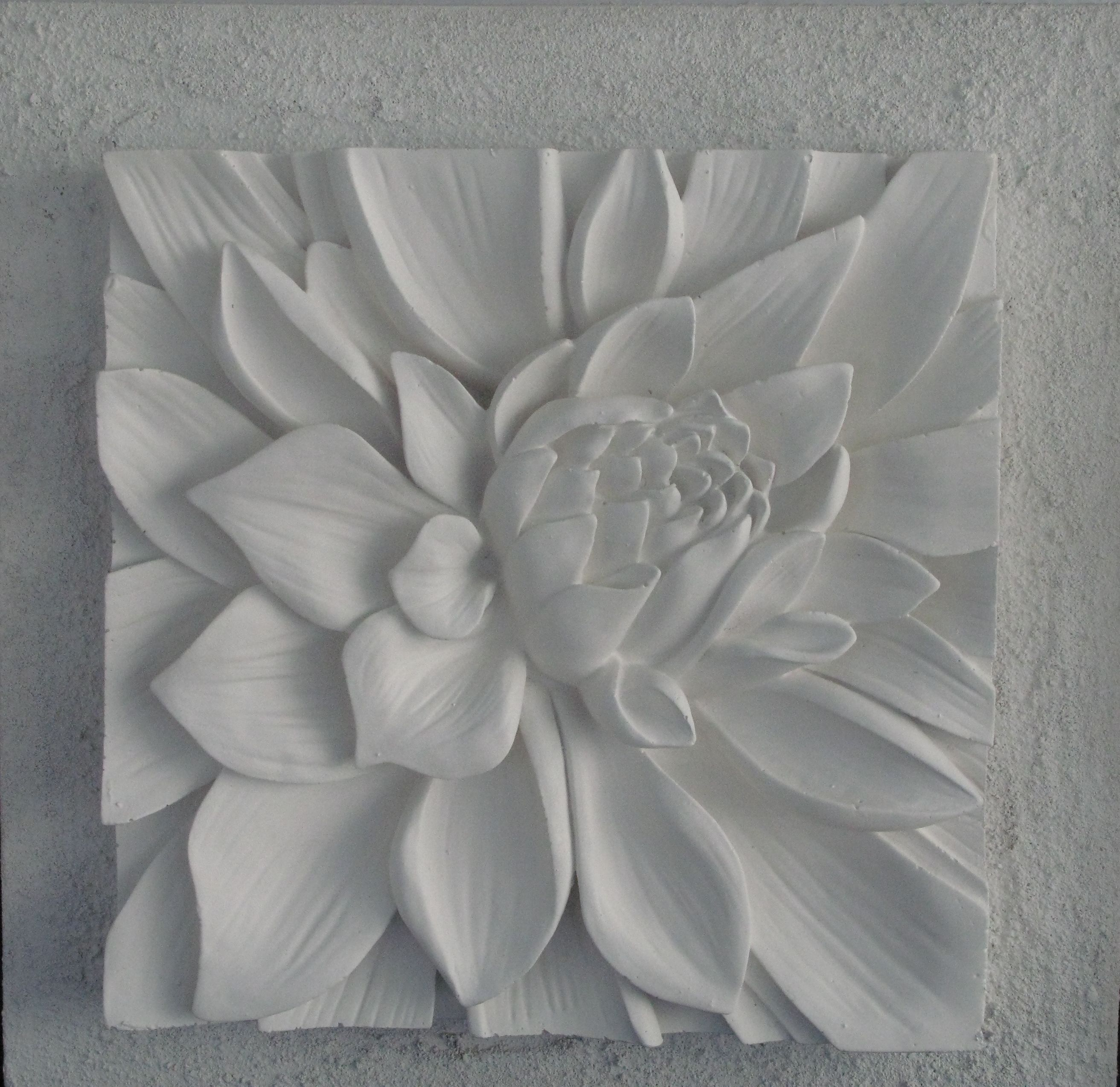 Plaster Wall Art 3d sculptural art with textured background. lotus flower white