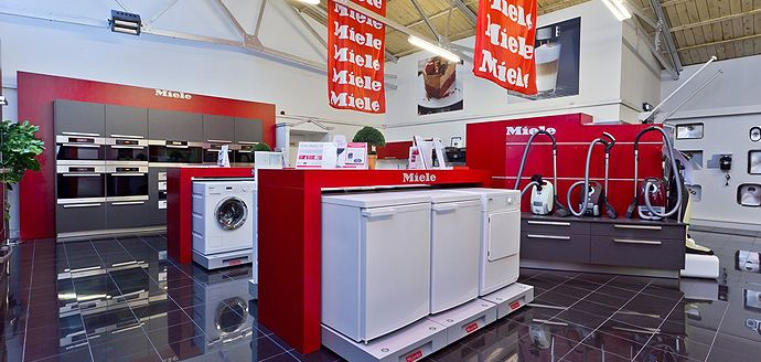 red appliance showroom
