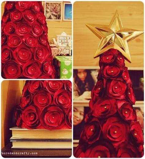 Árbol de Navidad con rosas de tela »    manualidadesnavidadorg