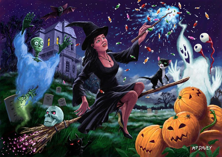 Happy Halloween Witch With Graveyard Friends in 2020