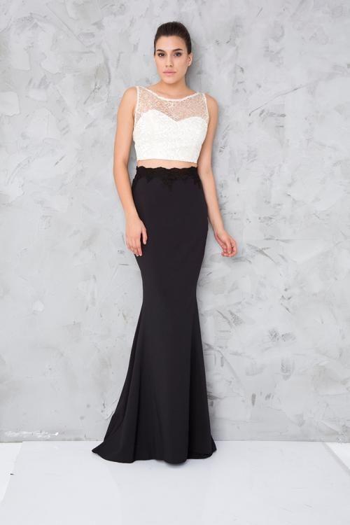 Siyah Beyaz Iki Parca Uzun Abiye Elbise Fotograf Elbise Elbise Modelleri Siyah Beyaz
