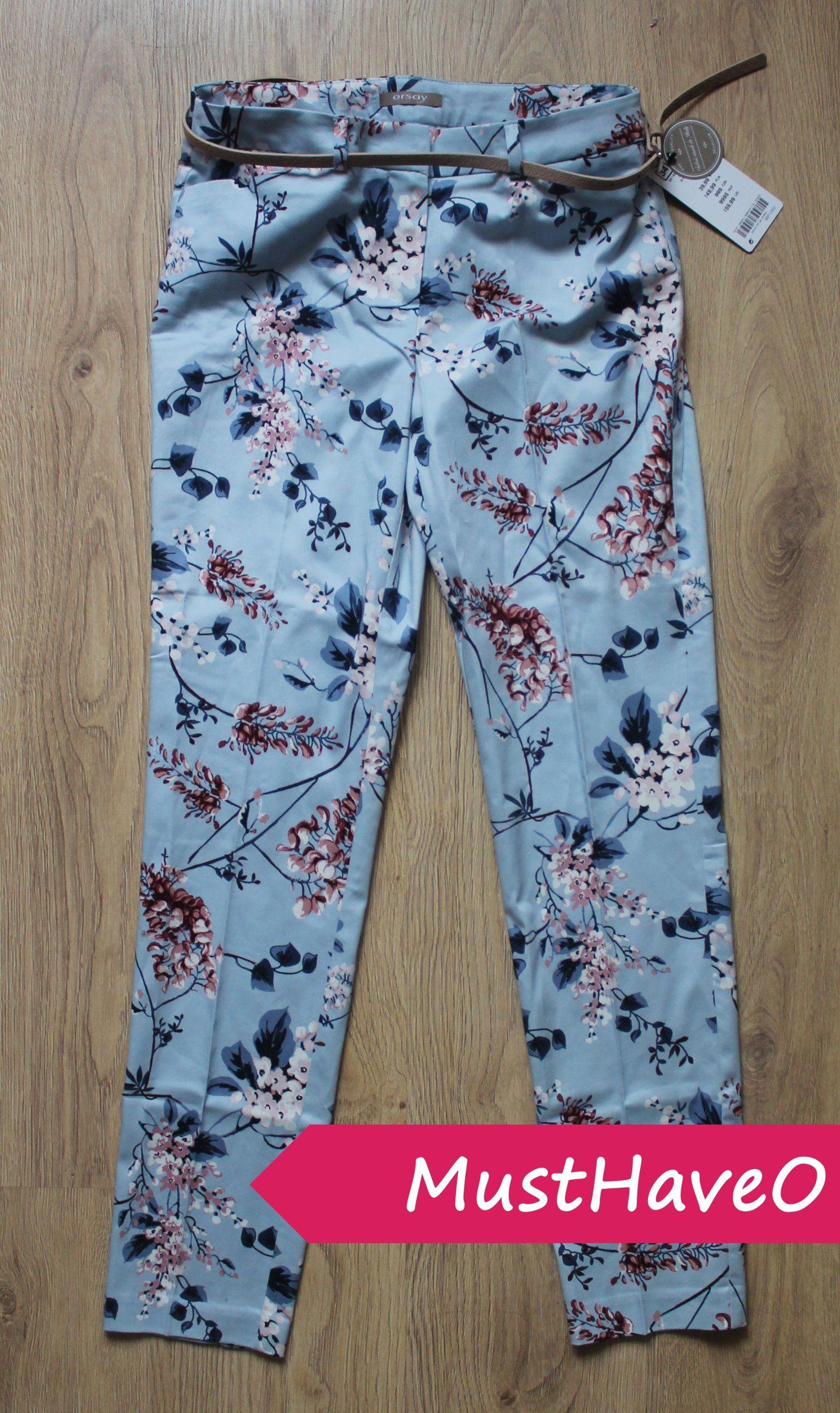 Orsay Spodnie Cygaretki Niebieski Kwiaty Pasek Xs 7093770888 Oficjalne Archiwum Allegro Fashionista Pajama Pants Pants