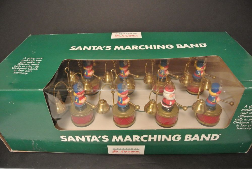 mr christmas santas marching band brass bells 35 carols soldiers lights up nib