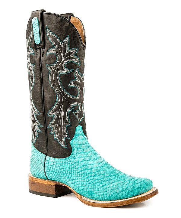 Roper Black & Turquoise Square Toe Python Leather Cowboy