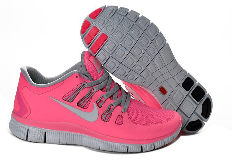 7d2318d0e6f9 Nike Free 5.0+ Womens Coral Light Gray Running Shoes