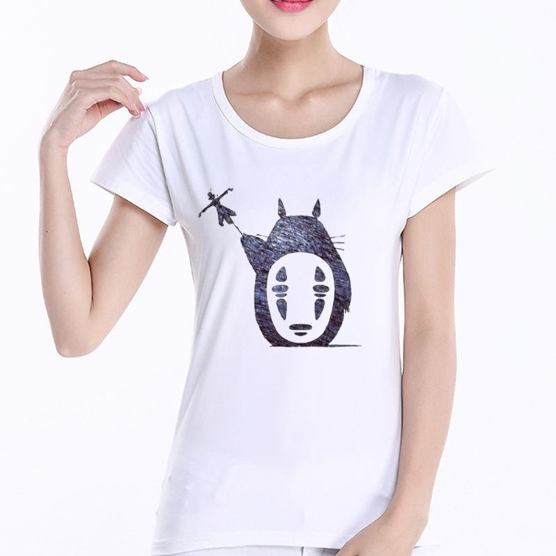 Cartoon Totoro and noface T Shirt Women Print harajuku ...