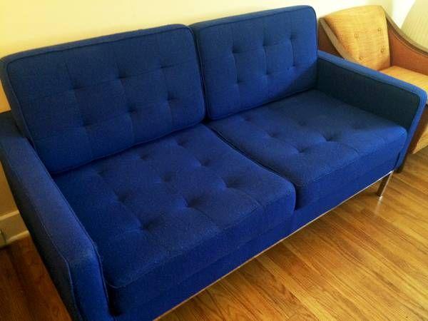 RARE Cobalt Blue Knoll Eames Replica Mid Century Modern Sofa Couch. RARE Cobalt Blue Knoll Eames Replica Mid Century Modern Sofa Couch