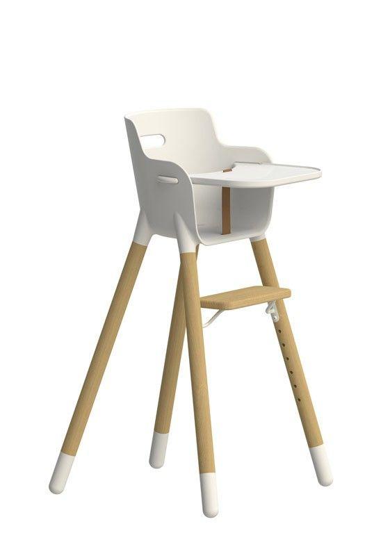 Flexa Højstol - Hvid højstol med ben i massiv bøg og sæde i PP plast. Passer til børn i alderen ...