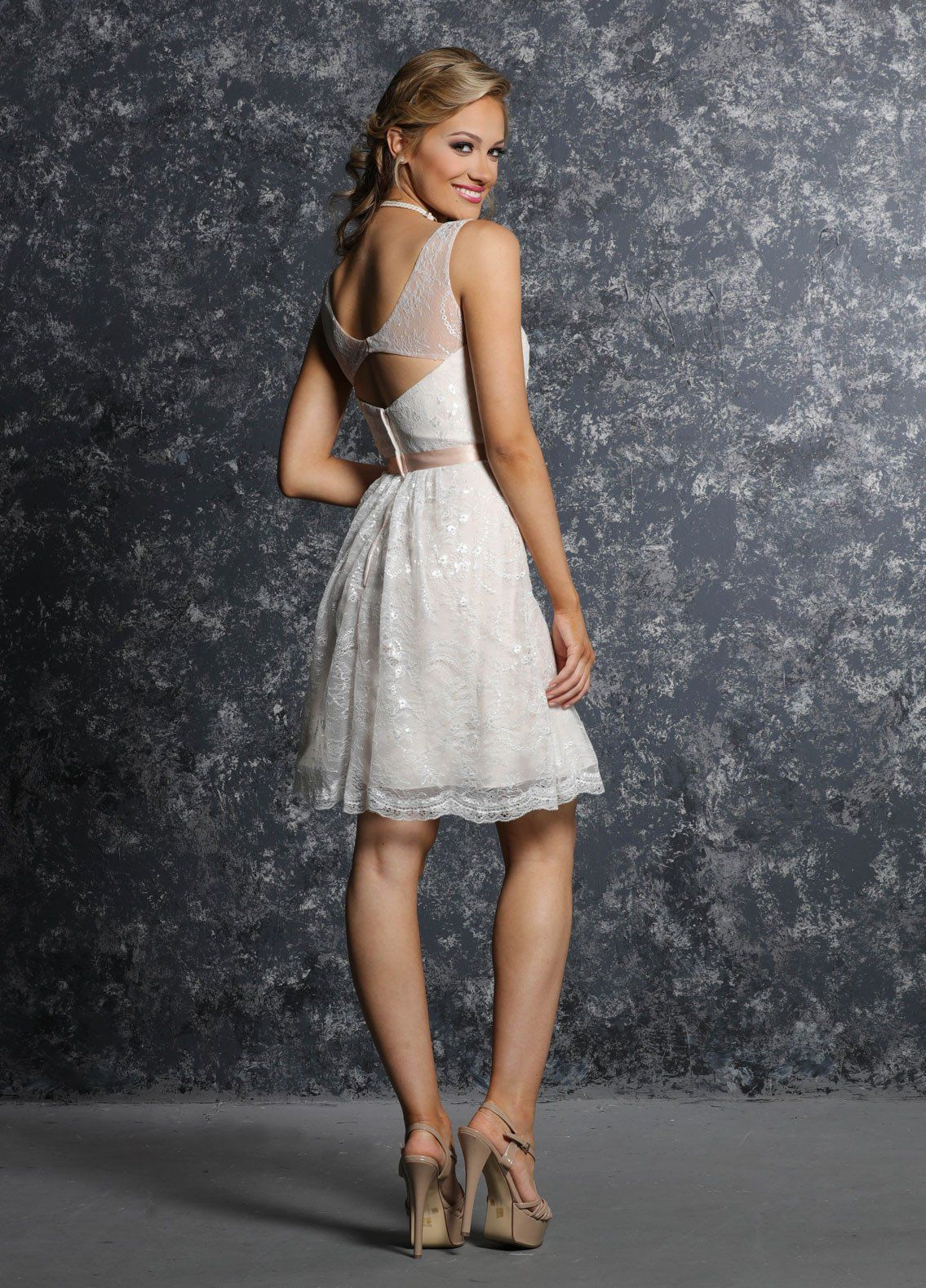 Wedding dress with short front and long back  Davinci  short open back lace bridesmaid dress many color