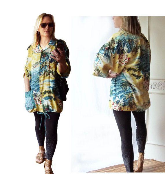 4e2ceeaa Plus Size Hawaiian shirt, Vintage Hawaiian shirt, retro, Beach coverup,  onesize fits most, oversize, ruched sleeves, kimono, fish applique