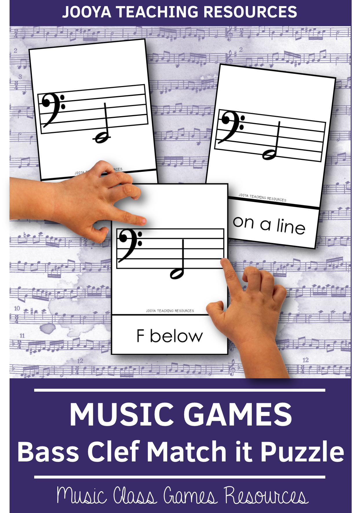 Bass Clef Notes Match It Puzzle Cards In