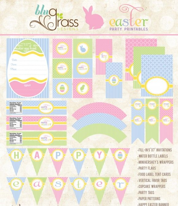 Free Easter Party Printables From Blugrass Designs Easter Printables Easter Party Easter Printables Free