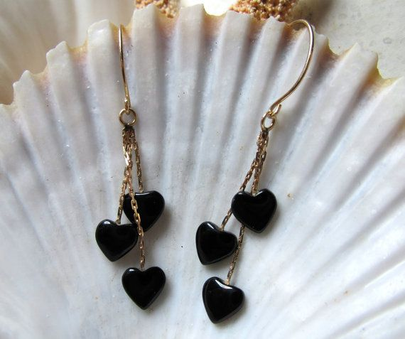 14k Gold Onyx Hearts Dangle Earrings Movable 3D by EverythingIOwn, $75.00