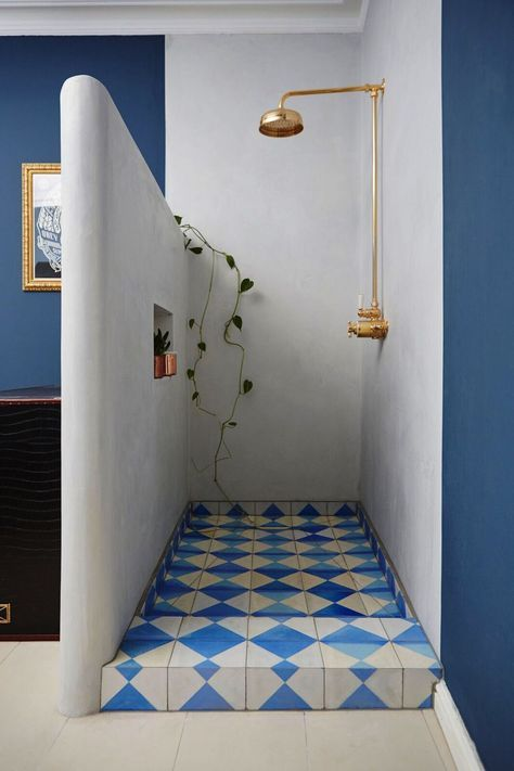 Open Shower Br Head Patterned Tile Floor Greek Inspired Color Palette White Blue Bath Baños Interiores Interior Design