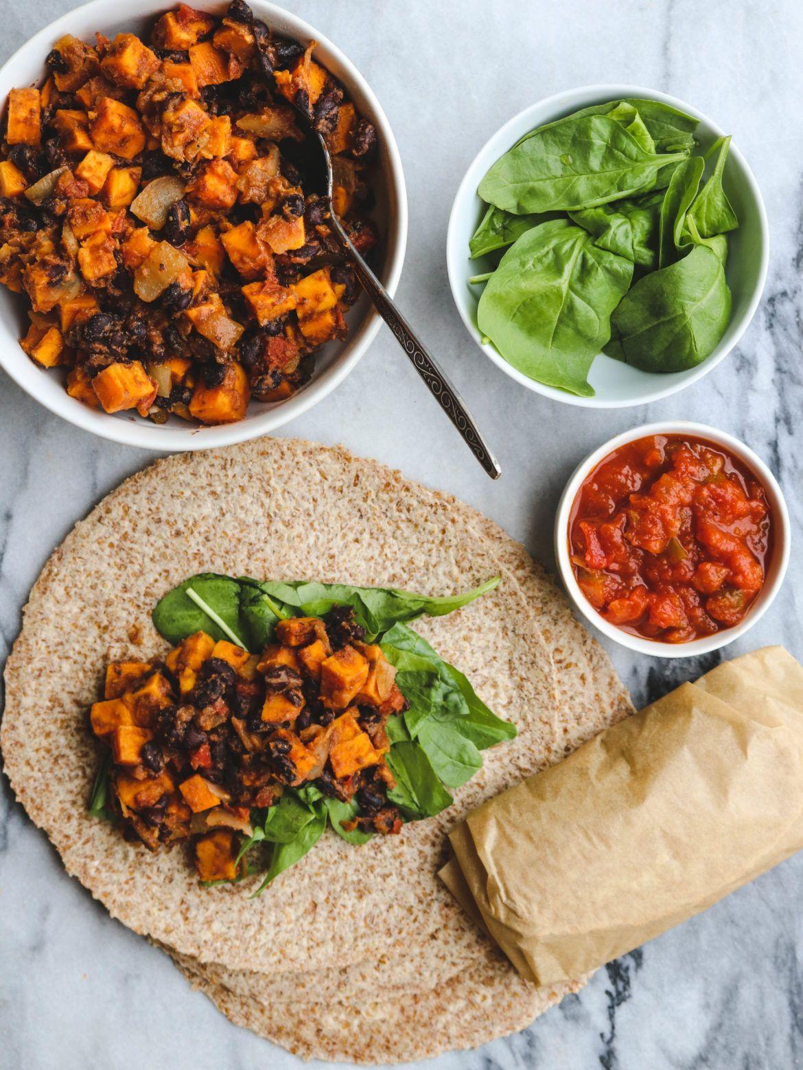 Sweet Potato And Black Bean Vegan Breakfast Burritos