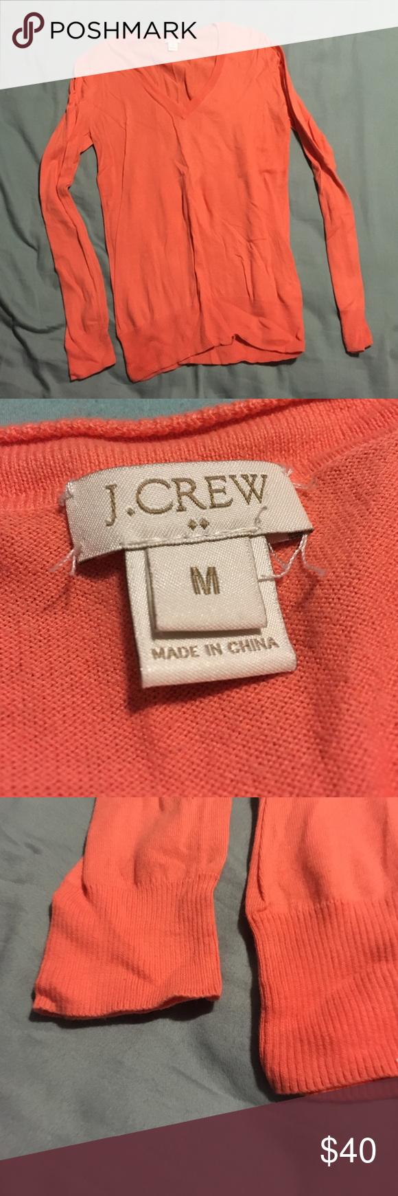 Jcrew Sweater Jcrew women's Pullover sweater, v neck, medium, peach, worn once. J. Crew Tops Sweatshirts & Hoodies