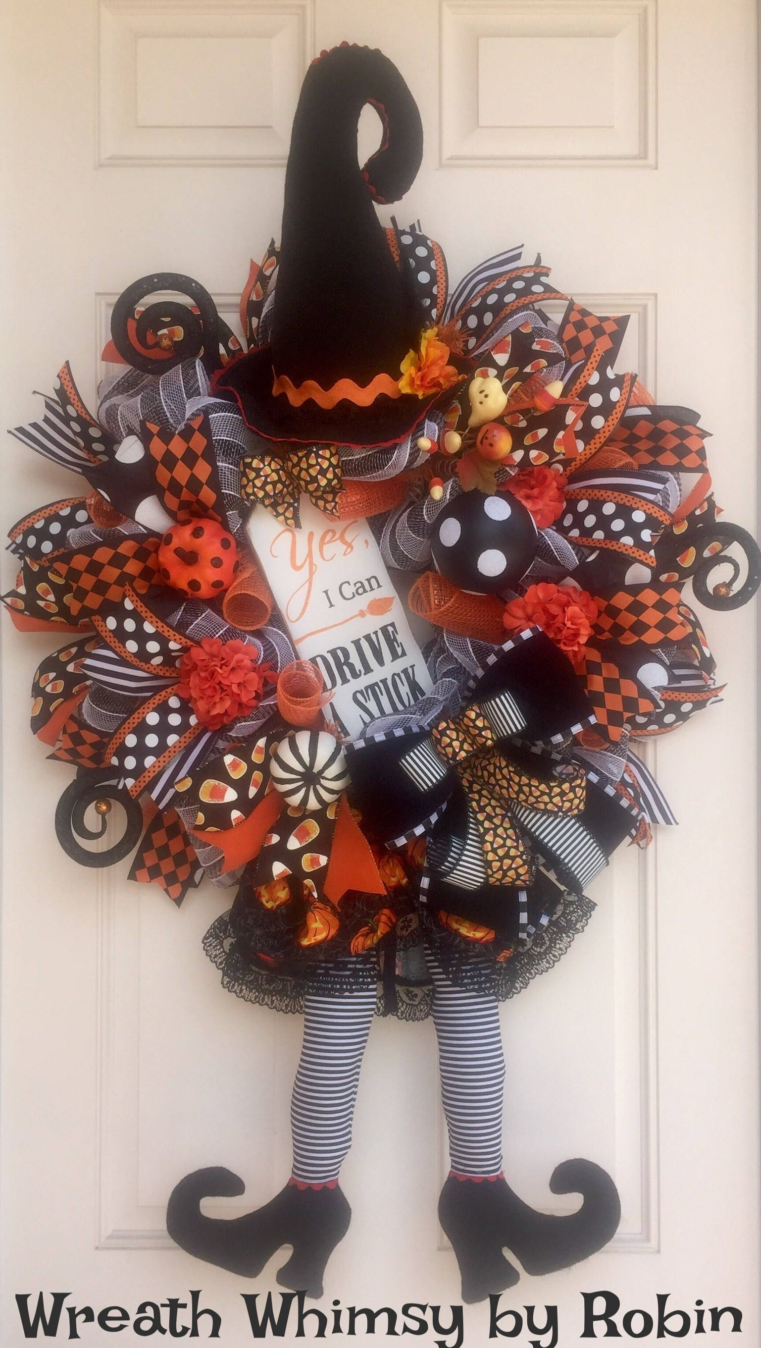halloween deco mesh witch wreath in orange and black fall wreath front door wreath - Halloween Deco