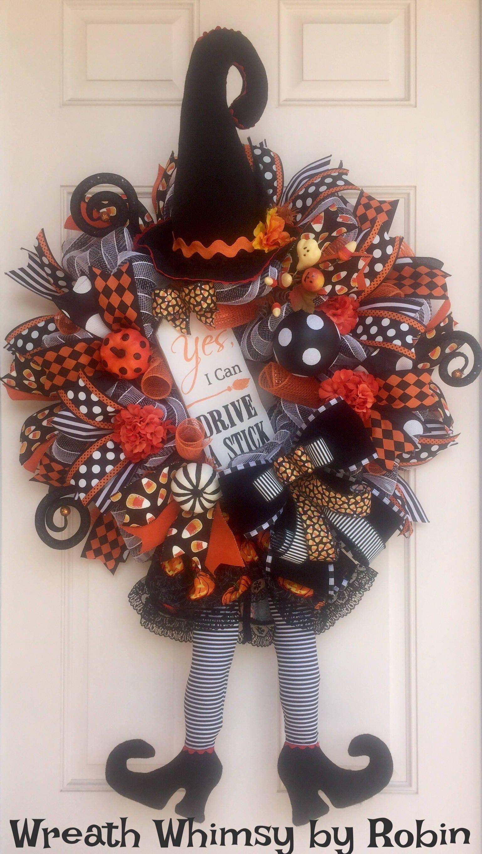 Halloween deco mesh witch wreath in orange and black fall wreath halloween deco mesh witch wreath in orange and black fall wreath front door wreath rubansaba