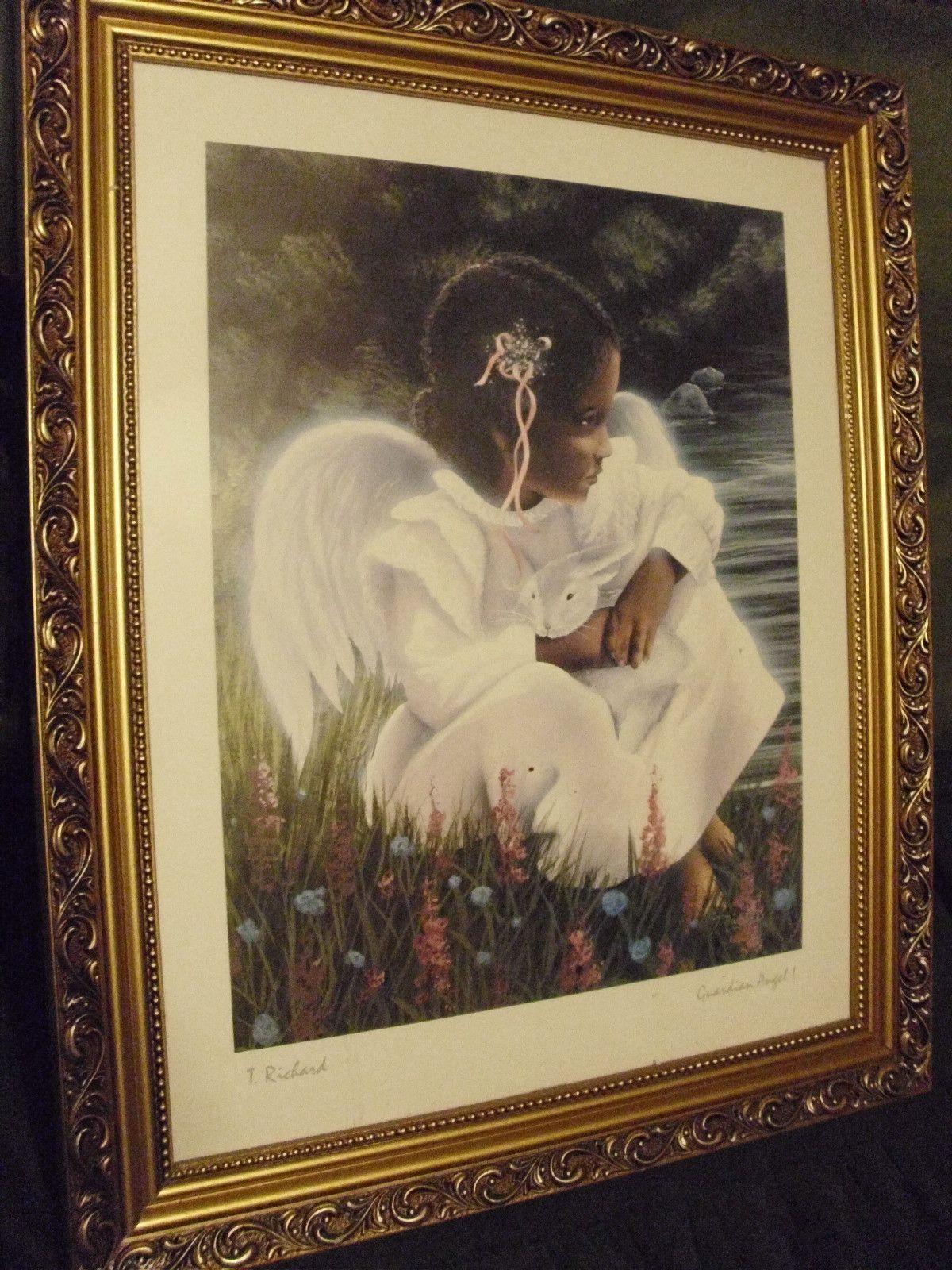 "Black Americana Wall Decorations Framed Print by ""T Richard"" ""Guardian Angel 1"" | eBay"