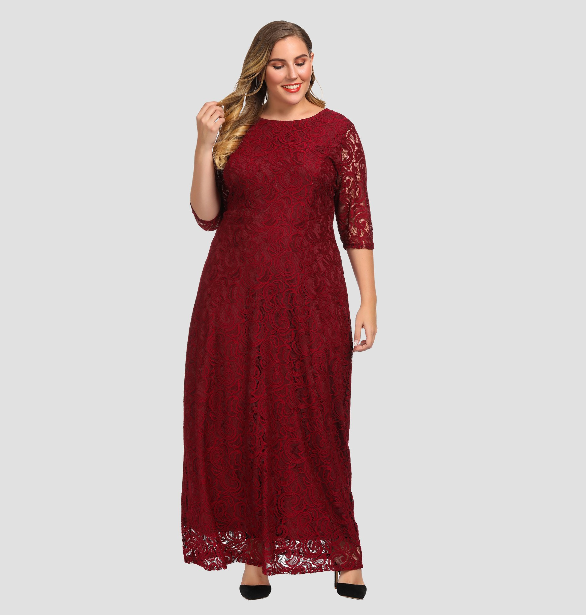 23ca2a216838 Women's Plus Size Lace Maxi Evening Dress in 2019 | Mother of the ...