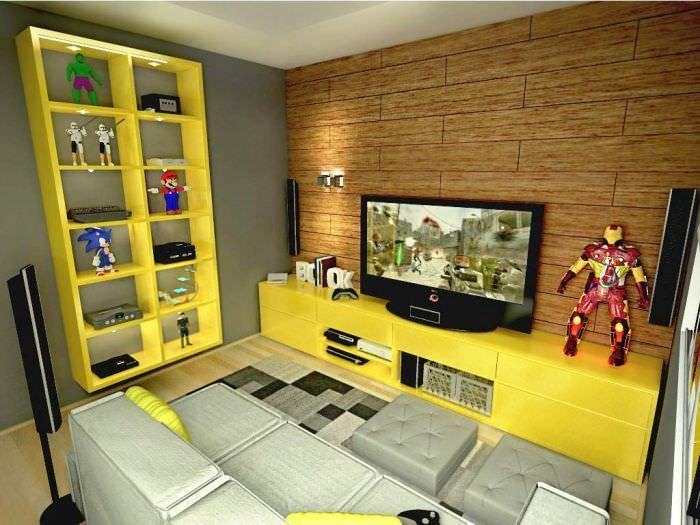 Sala De Tv Com Rack Amarelo ~ rack amarelo sala de tv pequena decoração geek projeto casa doce lar