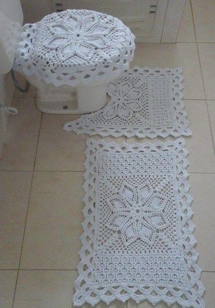 Juego bano tejido a crochet 2 carpetas al crochet for Set de bano tejidos