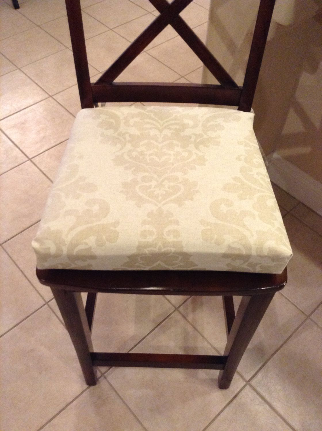 Damask Print Kitchen Chair Cushion Barstool Counter