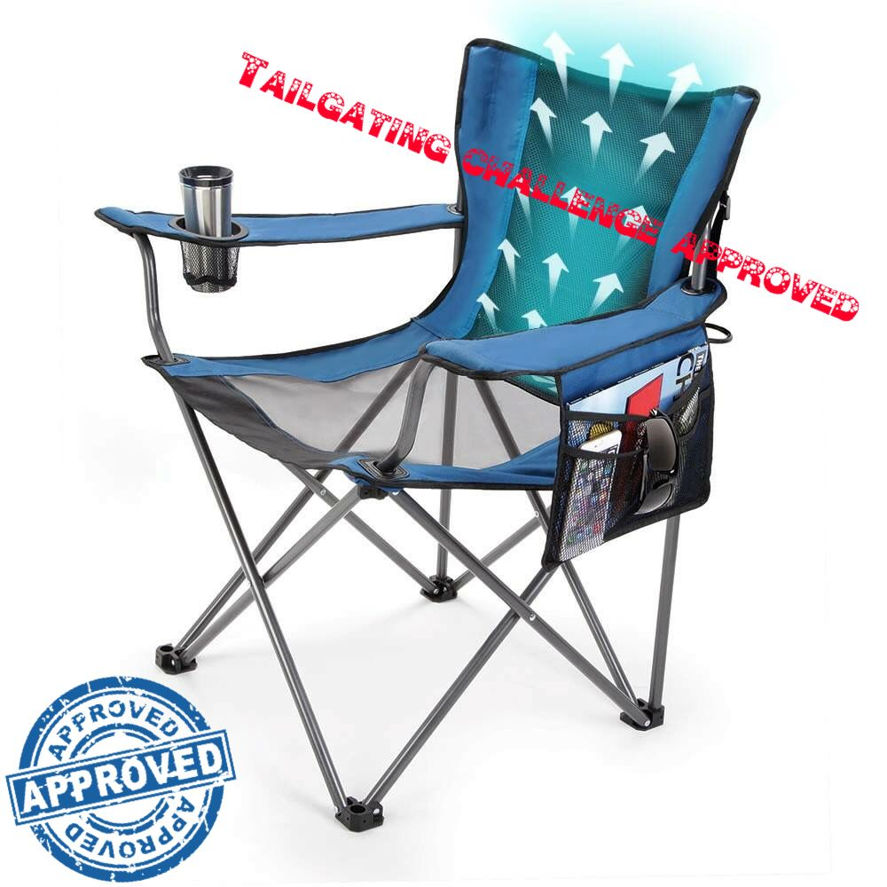 Win a cooling chair! This chair actually has built in favs to keep you cool! Go to our Facebook to enter  Www.Facebook.Com/tailgatingchallenge