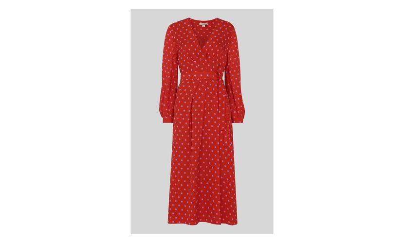Whistles Red Multi Maria Spot Silk Wrap Dress 5053867481081 Dresses Whistles Dresses Wrap Dress