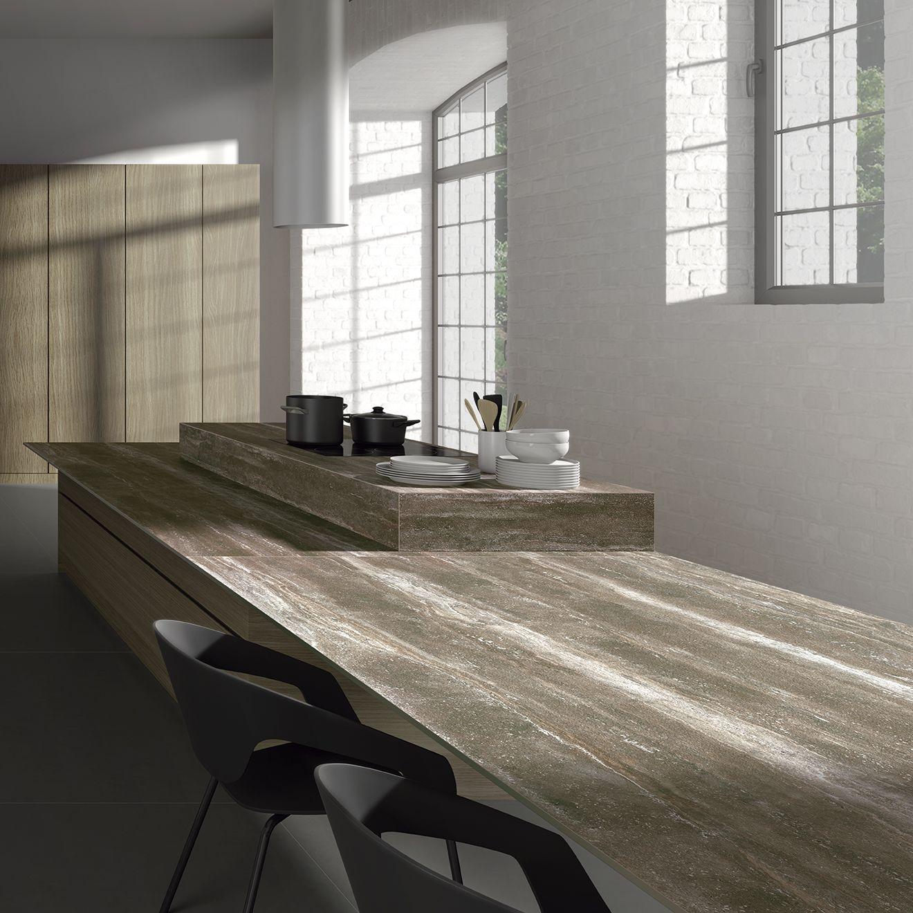 Encimera de #cocina #moderna con #diseño de #mármol #travertino y ...