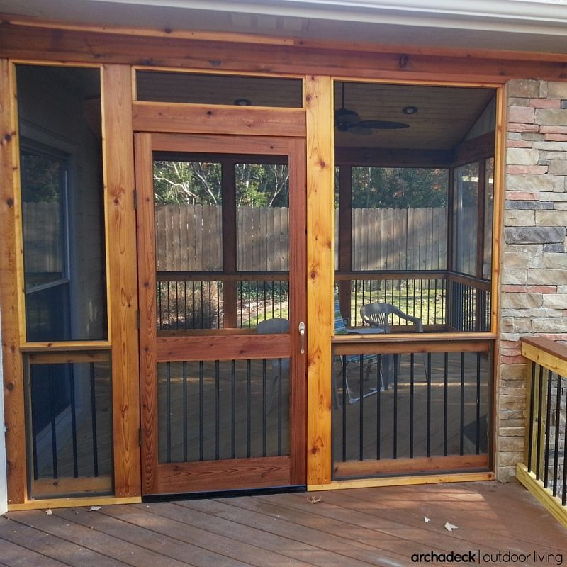 Cedar Is The Primary Building Material For This Rustic Screen Porch And Deck However Notice The Metal Black House With Porch Screened Porch Screened In Porch