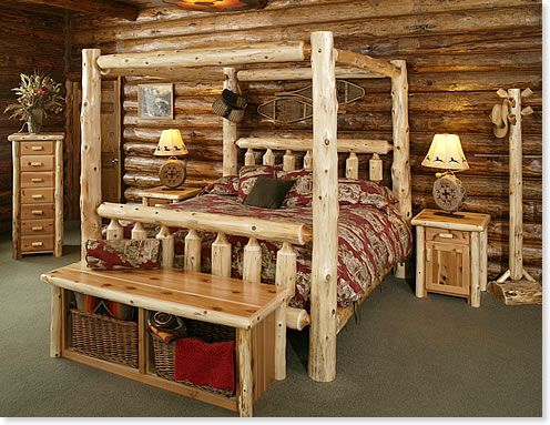 Log Bed If Bobby Had His Way This Is What Our Bedroom Would Look Like No Lie He Picked Out The Log Cabin Furniture Cabin Furniture Rustic Bedroom Furniture
