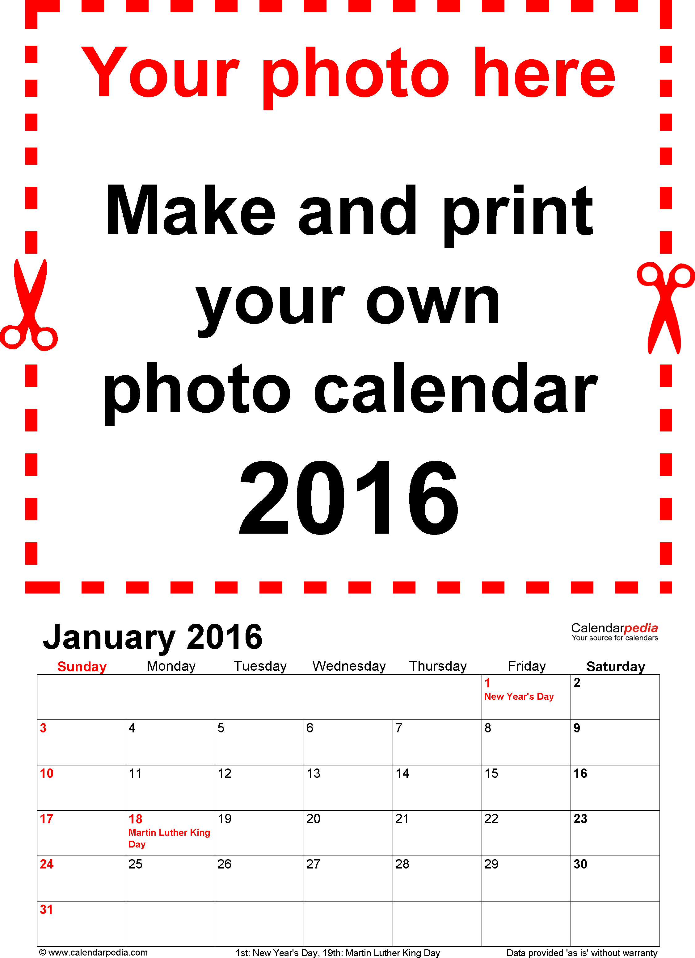 Template  Photo Calendar  For Word  Pages Portrait