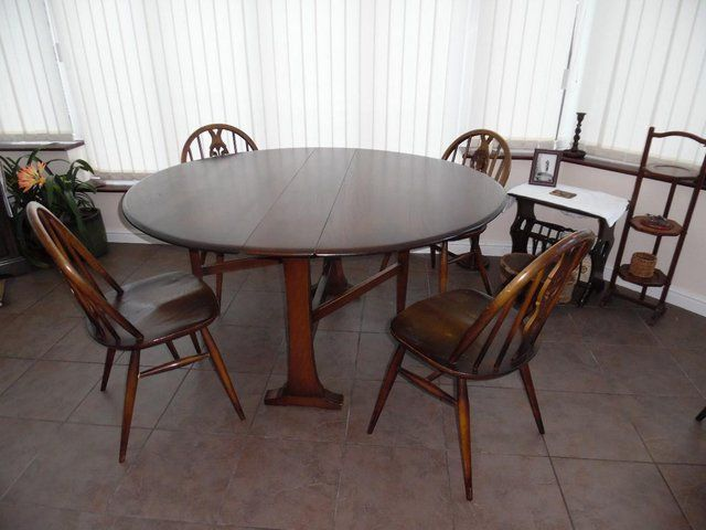 """Ercoloval """"drop Leaf"""" Table And 4 Chairs For Sale In Ashton Under Glamorous Second Hand Ercol Dining Room Furniture 2018"""
