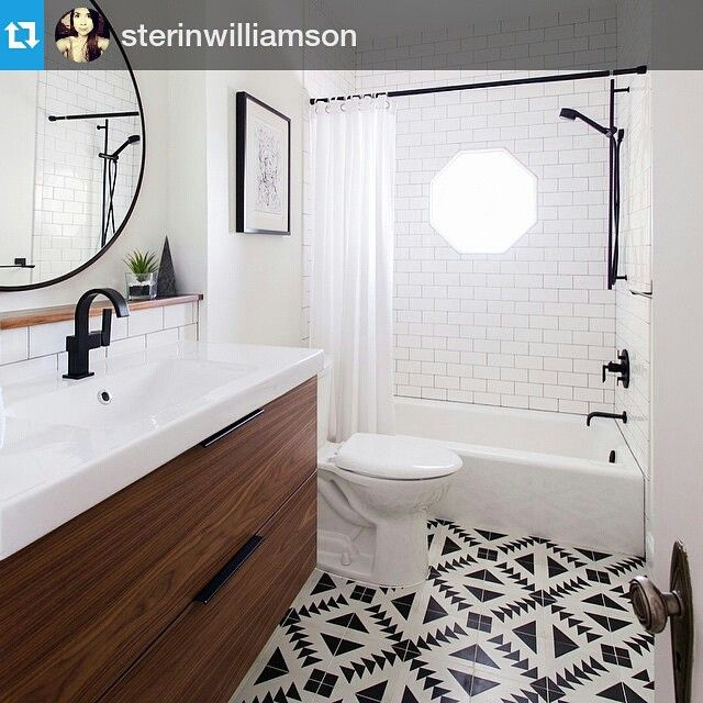 Repost @sterinwilliamson Loving the tile beneath our Flatsawn Walnut ...