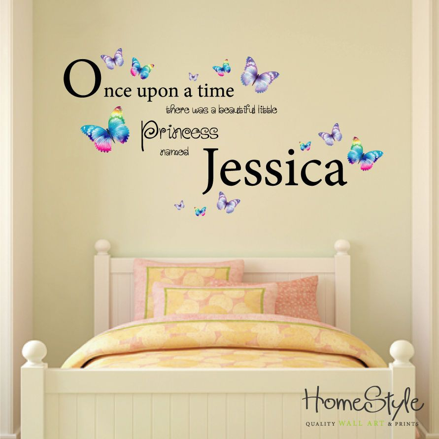 LITTLE PRINCESS BUTTERFLY DESIGN PERSONALISED WALL ART | Home ...